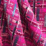 Italian Plaid Wool Tweed - Pink/Blue