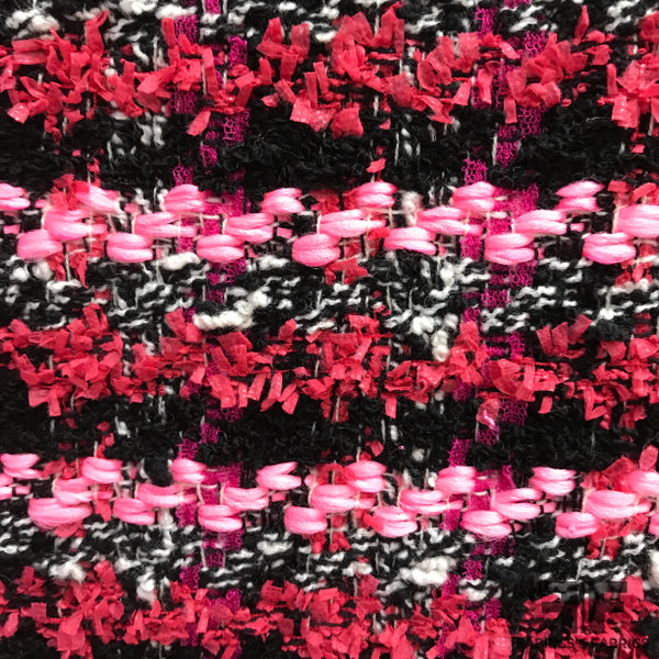 Striped Abstract Wool Tweed - Pink/Black