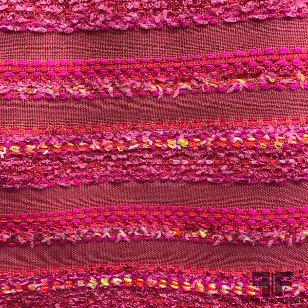 Italian Neon Striped Tweed - Pink - Fabrics & Fabrics