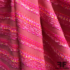 Italian Neon Striped Wool Tweed - Pink