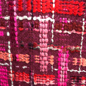Italian Plaid Wool Tweed - Pink/Purple