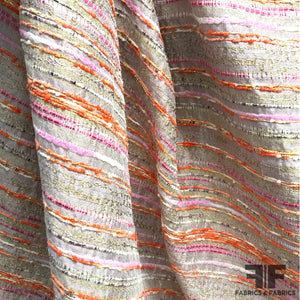 Striped Brocade/Tweed - Metallic - Orange/Pink (WIDE)
