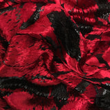 French Abstract Burnout Velvet - Red/Black