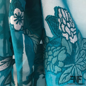 Floral Motif Burnout Brocade - Blue