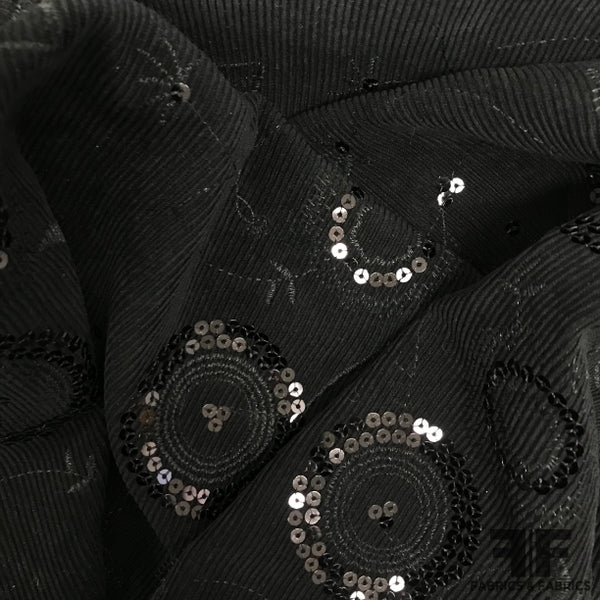 Sequin Embellished Cotton Corduroy - Black - Fabrics & Fabrics