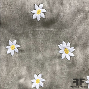 Italian Daisy Embroidered Cotton Corduroy - Beige