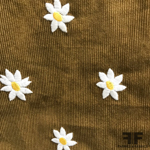 Italian Daisy Embroidered Cotton Corduroy - Brown - Fabrics & Fabrics