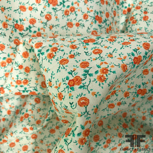 Floral Pop Printed Cotton - Orange/White