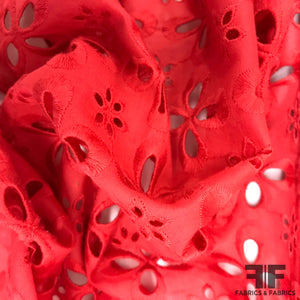 Geometric Cotton Eyelet - Red - Fabrics & Fabrics