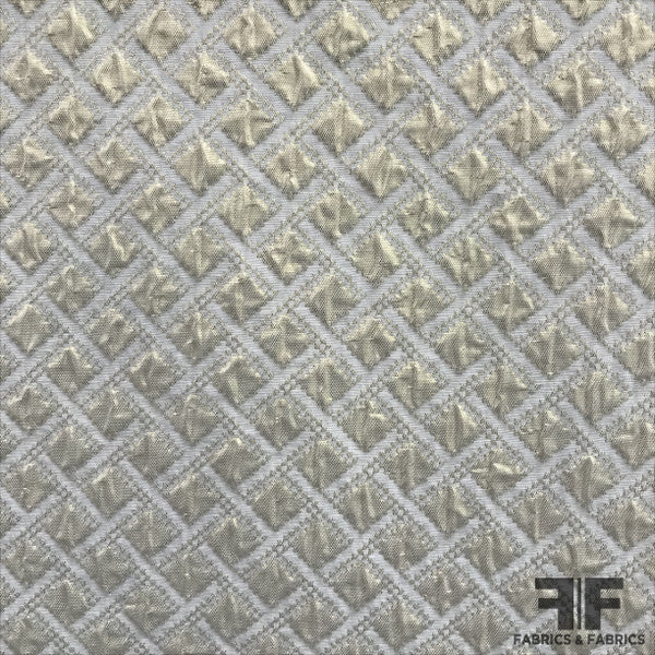 Checkered Metallic Brocade - White/Gold - Fabrics & Fabrics NY