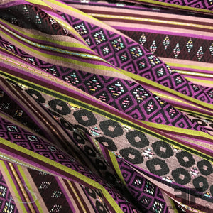 French Striped Geometric Brocade - Purple
