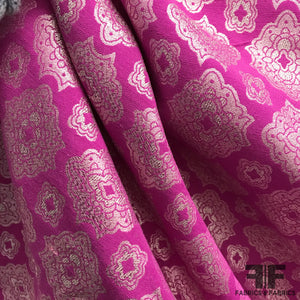 Geometric Metallic Brocade - Pink/Silver