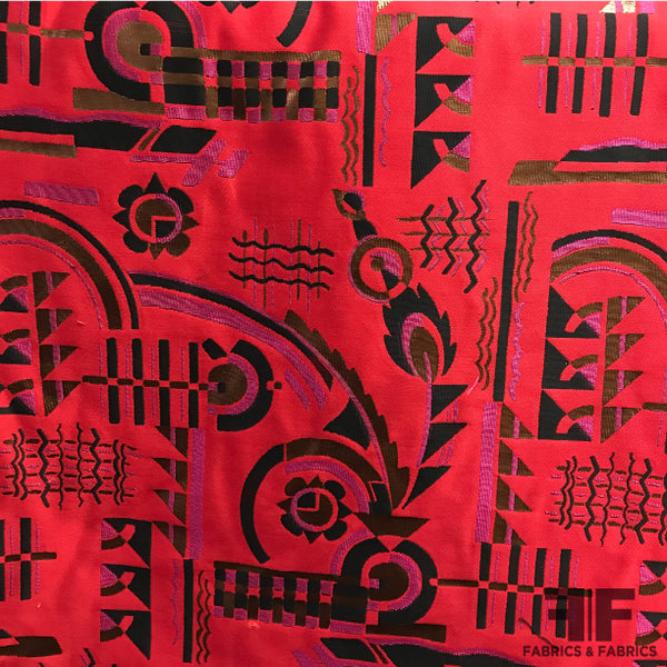 Geometric Motif Brocade - Red