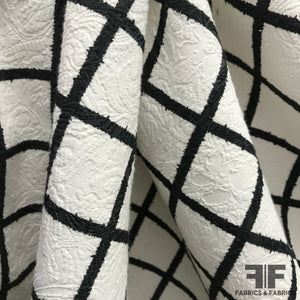 Windowpane Checkered Brocade - White/Black - Fabrics & Fabrics