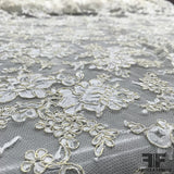 French Floral Chantilly Lace - Ivory/Gold - Fabrics & Fabrics