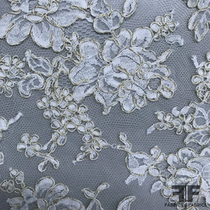 French Floral Chantilly Lace - Ivory/Gold