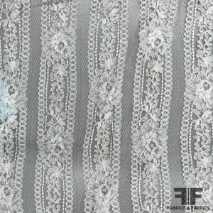 French Stripe Flower Chantilly Lace - Ivory - Fabrics & Fabrics