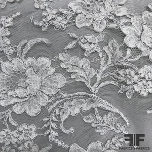 French Floral Chantilly Lace - Ivory/Silver