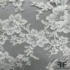 French Delicate Floral Alencon Lace - Ivory - Fabrics & Fabrics