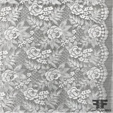 French Rose Floral Chantilly Lace - Silk White - Fabrics & Fabrics