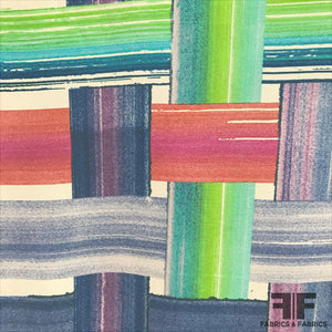 Abstract Plaid Silk Crepe De Chine - Multicolor - Fabrics & Fabrics NY