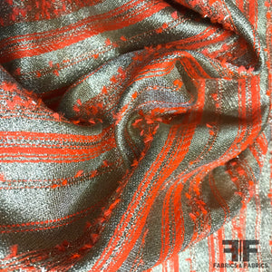 Metallic Striped Brocade - Orange/Gold