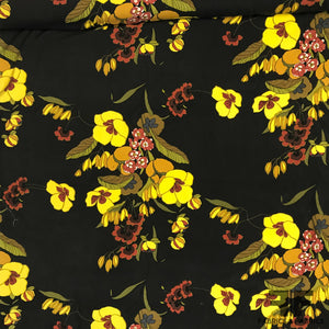 Floral Print Cotton/Silk Blend - Black/Yellow