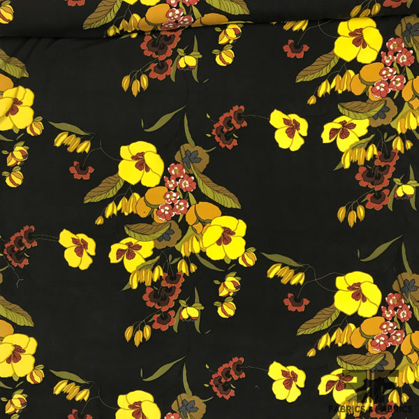 Floral Print Cotton/Silk Blend - Black/Yellow - Fabrics & Fabrics