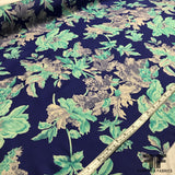 Blooming Florals Silk Printed Georgette - Blue/White - Fabrics & Fabrics NY