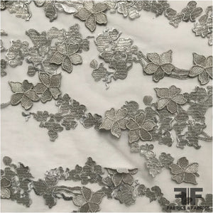 3D Floral Applique Embroidered Netting - Silver - Fabrics & Fabrics NY