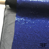 Italian Flower Sequins on Stretch Mesh - Blue
