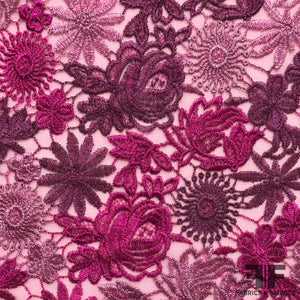 Floral Embroidered Netting - Pink/Purple - Fabrics & Fabrics