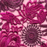 Floral Embroidered Netting - Pink/Purple