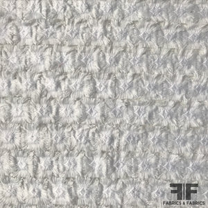 Heavy Texture Embroidered Netting - White - Fabrics & Fabrics