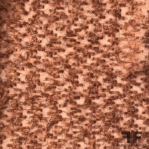 Italian Embroidered Fringe Novelty Chiffon - Brown/Metallic - Fabrics & Fabrics