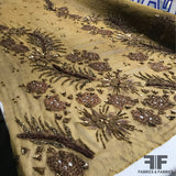 Detailed Hand Embroidered Silk Chiffon with Appliqués - Bronze - Fabrics & Fabrics NY