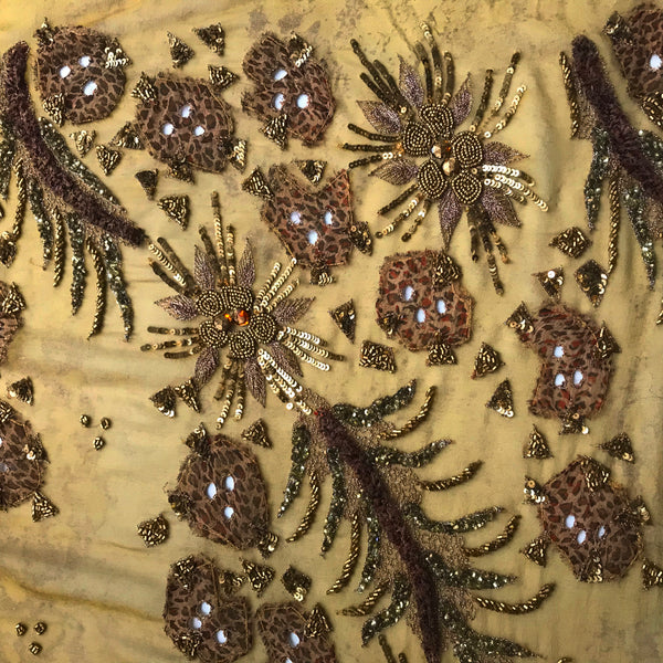 Detailed Hand Embroidered Silk Chiffon with Appliqués - Bronze