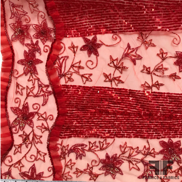 Couture Floral Embroidered & Beaded Netting - Red - Fabrics & Fabrics NY