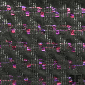Italian Checkered Pop Wool Tweed - Black/Pink/Purple - Fabrics & Fabrics