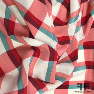 Plaid Printed Crepe De Chine - Red/Teal - Fabrics & Fabrics