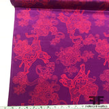 Paisley Boho Elephant Printed Crepe De Chine - Purple/Orange - Fabrics & Fabrics