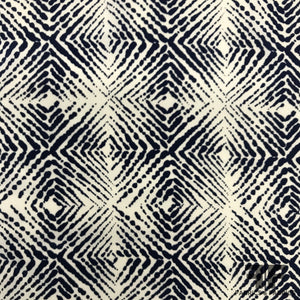 Geometric Printed Crepe De Chine - Navy/White