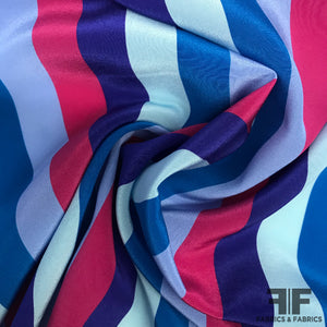 Multicolor Striped Printed Crepe De Chine - Blue/Pink