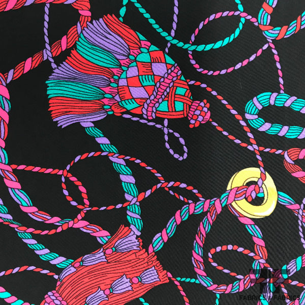Abstract Printed Crepe De Chine - Black/Multicolor - Fabrics & Fabrics NY