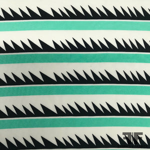 Abstract Stripe Printed Crepe De Chine - Mint Green - Fabrics & Fabrics NY