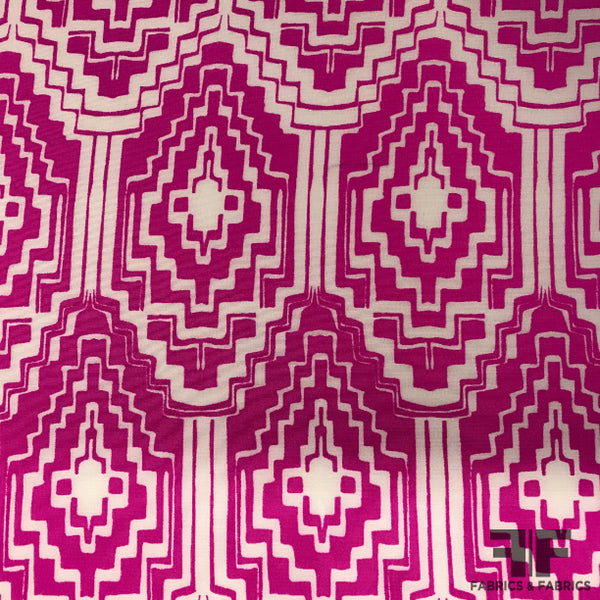 Geometric Abstract Printed Crepe de Chine - Magenta