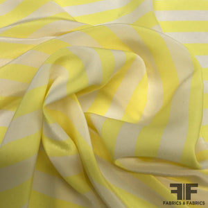Stripe Printed Crepe De Chine - Yellow/White - Fabrics & Fabrics NY