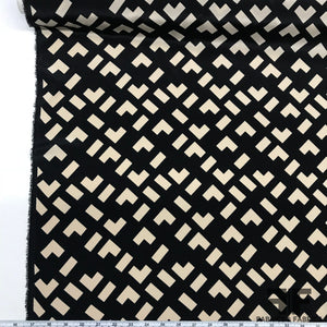 Geometric Abstract Printed Crepe De Chine - Black/Ivory