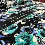 Floral & Abstract Stripe Printed Silk Crepe de Chine - Black/Blue - Fabrics & Fabrics NY