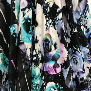 Floral Rose Abstract Printed Silk Crepe de Chine - Black/Blue - Fabrics & Fabrics